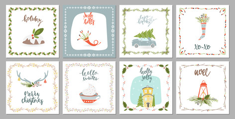 Square winter holidays greeting cards