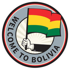 Bolivia country welcome sign or stamp