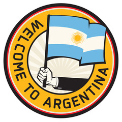 Argentina country welcome sign or stamp