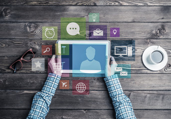 Concept of social communication and networking with media user i