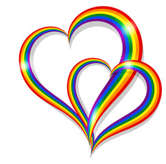 Two rainbow pride heart shape symbol LGBT community