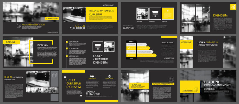 Black yellow presentation templates and infographics elements background. Use for business annual report, flyer, corporate marketing, leaflet, advertising, brochure, modern style.