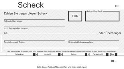 Vektor-Check mit modernem Design. Original Scheck - blanko blue. Blankoüberprüfung mit freiem Platz für Ihren Text.