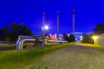 Chimneys of power plant at Baltic sea coast, Sweden