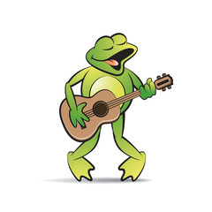 happy frog cartoon or mascot singing and playing guitar
