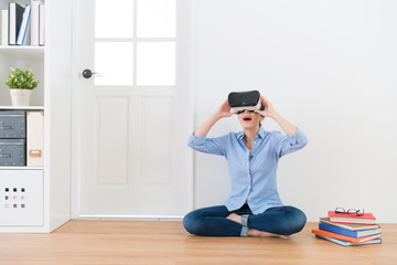 attractive girl student wearing virtual reality