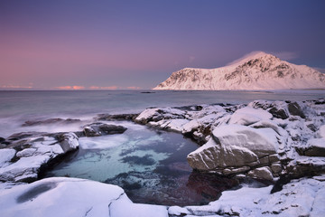 Wall Mural - Alpenglow at Skagsanden beach on the Lofoten, Norway