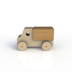 Wood toy car isolated on white background. Side view. 3D rendering.