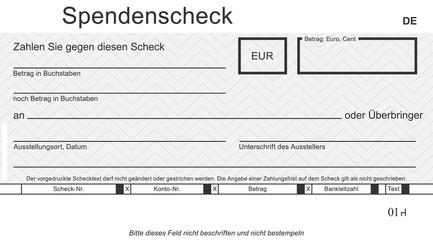 Vektor-Spendenscheck mit modernem Design. Original Spendenscheck - blanko blue. Blankoüberprüfung mit freiem Platz für Ihren Text.