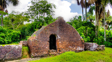 Foto auf Leinwand Befestigung Ruins of Zeeland fort on the island in Essequibo delta, Guyana