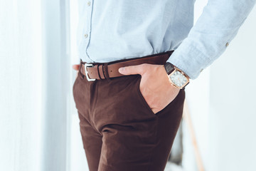 cropped image of businessman with hands in pockets
