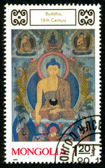 Ukraine - circa 2018: A postage stamp printed in Mongolia shows drawing Buddha. Series: Buddhist Deities. 18th-20th Cent. Paintings. Circa 1990.