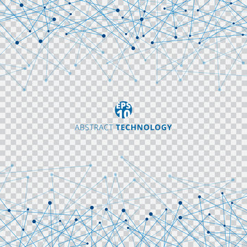 Abstract technology blue mesh with dots on transparent background. Techno design of future digital data.