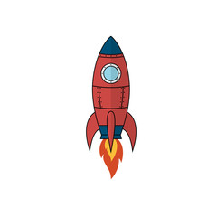 Cartoon rocket space ship. Isolated vector illustration on white background.