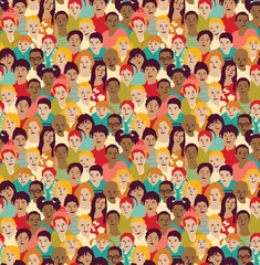 Children crowd group color seamless pattern.