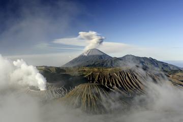 Landscape with volcanoes Bromo, Batok and Semeru, Java, Indonesia