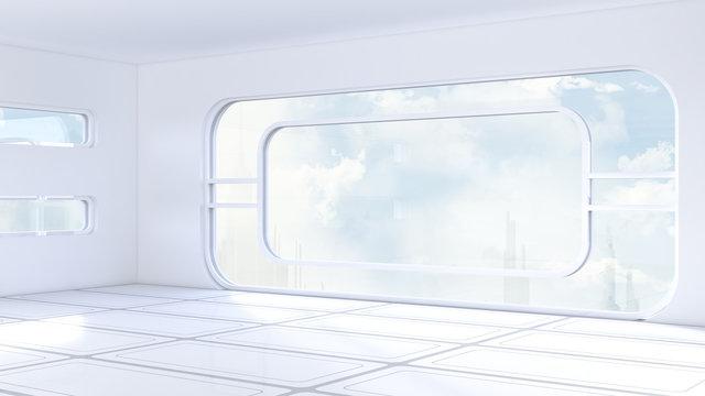 Futuristic room, D Rendering