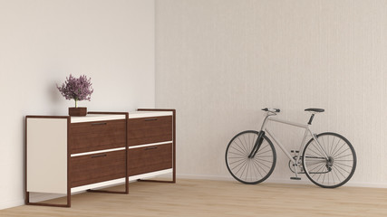 Sideboard with bonsai and bicycle in a room, 3d rendering