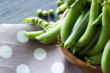 Green pea. Close-up.