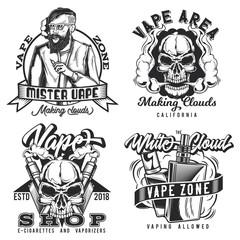 Set of vintage vape emblems, labels, badges, logos. Isolated on white