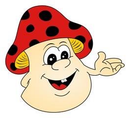 Pilz oder Fliegenpilz als Moderator im Vektor und Cartoon Style auf einem weißen isolierten Hintergrund