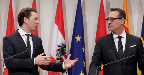 Austria's Chancellor Kurz and Vice Chancellor Strache address a news conference after a two-day cabinet meeting in Seggau