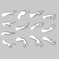 Set of Hands Pointing