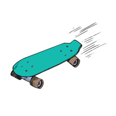 Green skateboard, hand drawn doodle sketch, isolated vector color illustration
