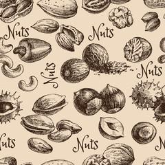Vintage hand drawn sketch nuts seamless pattern. Vector illustration