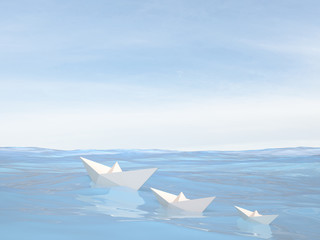 Little paper boats on water