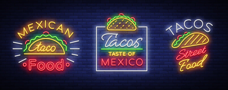 Tacos set of neon-style logos. Collection of neon signs, symbols, bright billboard, nightly advertising of Mexican food Tako. Vector illustration for your projects, restaurant, cafe