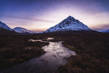 Scotland, Highlands, Glen Etive, Buachaille Etive Mor, Mountain in the evening