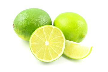 fresh lime fruits isolated on a white background