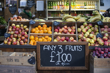 Various fruits for sale on the Borough market