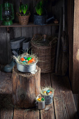 Farm Easter eggs in the wooden cottage