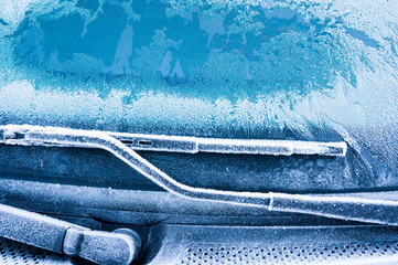 The ice-cold frost forms ice crystals in beautiful unique patterns on the Car