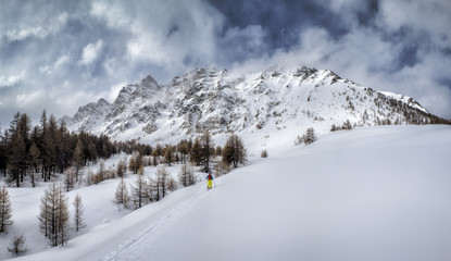 France, Hautes Alpes, Queyras Nature Park, Ceillac, Pic de Chateau Renard, ski mountaineering