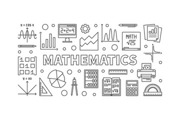 Mathematics vector line horizontal banner