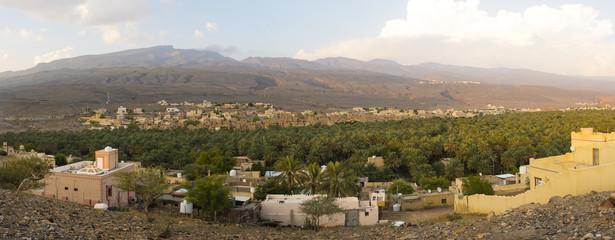 Oman, Al Dakhiliyah, Jebel Shams, Al-Hamra, Mountain village Wadi Misfah, Panorama