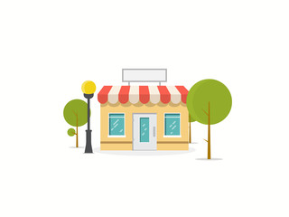 Online store building. Store building near park with trees. Flat vector illustration. Tree and bushes with street lamp. Trendy retro color style.