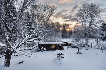 Estonia, wooden sauna in winter