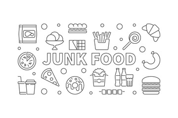 Junk food horizontal banner. Vector unhealthy food concept