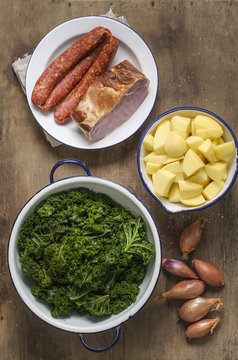 Steamed green cabbage, potatoes, onions, smoked pork chop and minced pork sausage