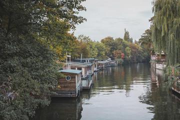 Germany, Berlin, houseboats on Spree river