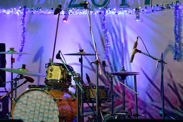 Musical Drum on stage ready to play