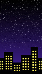 Lights on building, stars glittering over the night sky, a peaceful night time as ever.