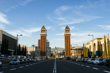 Spain, Barcelona, view to Avenue  Reina Maria Cristina with The Venetian towers in the background