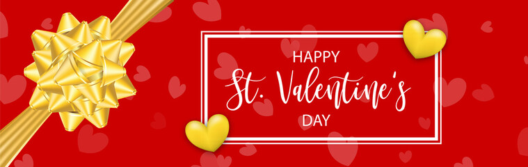 St. Valentine's Day vector illustration card. Happy realistic Valentines holiday background. Love gift bow red heart. Romantic decorative banner graphic design. Vintage ribbon symbol.