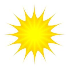 Sonne als Vektor und Cartoon auf einem weißen isolierten Hintergrund