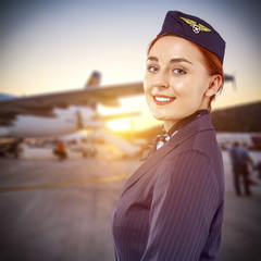 stewardess and plane
